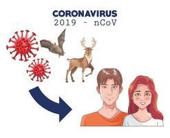 infographie de coronavirus avec couple et animaux vecteur