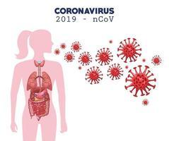 infographie de coronavirus avec figure de femme vecteur