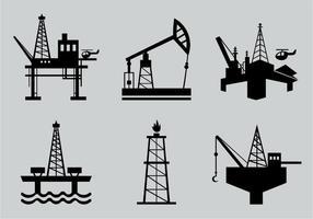 Pack de motifs de silhouette de champs de pétrole
