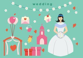 Paquet de mariage de mariage de mariée vecteur