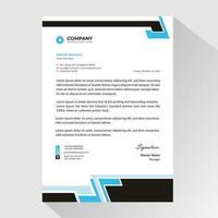 papier à en-tête d'affaires avec des bordures noires et bleues abstraites