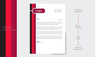 papier à en-tête de busiens moderne avec bordure noire et rouge