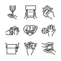 Jeu d'icônes de pictogramme d'hygiène des mains et de contrôle des infections