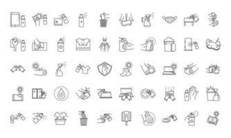 jeu d'icônes de style de ligne de prévention et de désinfection