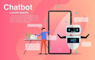 homme discutant avec l'application chatbot