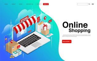 achats en ligne sur la page de destination d'un ordinateur portable