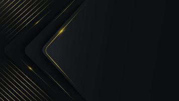 couches abstraites de triangle arrondi avec des lignes dorées vecteur