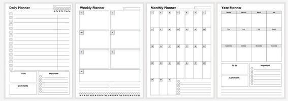 collection de feuilles de planificateur minimaliste de vie et d'entreprise