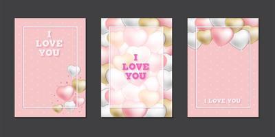 cartes de voeux avec des ballons coeur mignon