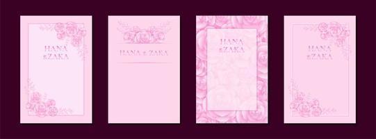 cartes d'invitation de mariage rose rose avec modèle de cadre