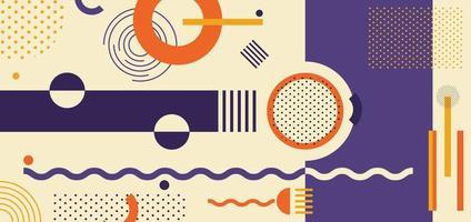 motif géométrique abstrait violet, orange, jaune