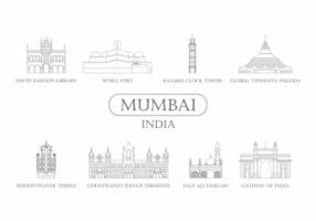 Icône du monument de Mumbai vecteur