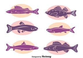 Vecteur de collection de silhouette de poisson