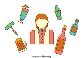 Collection de vecteurs d'éléments barman vecteur
