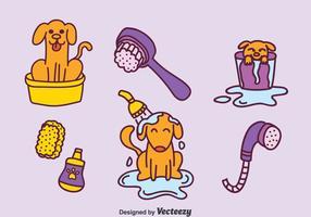 Ensemble de vecteur de lavage de chien à dessin