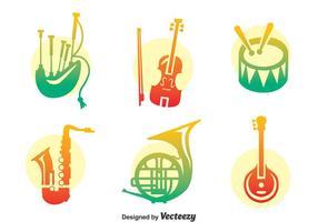 Ensemble de vecteur d'instrument de musique coloré