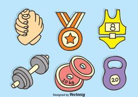 Arm Wrestling And Fitness vecteur icônes dessinées à la main