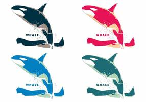 Popart coloré vecteurs de baleines vecteur