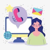 Femme connectée à l'échelle mondiale en ligne par appel téléphonique et e-mail