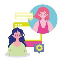 filles se connectant en ligne avec une bulle de dialogue numérique
