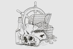 coffre au trésor de crâne de pirates vecteur