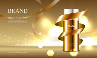 concept de ruban doré pour la publicité de cosmétiques vecteur