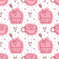 muffins, flèches et tasses avec des coeurs