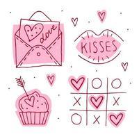 ensemble d'éléments de doodle saint valentin.