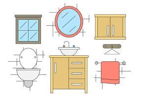 Icônes de vecteur de salle de bain