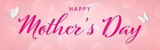 bannière de lettrage élégante bonne fête des mères avec des papillons vecteur