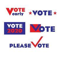 Graphiques de vote pour les élections 2020 vecteur