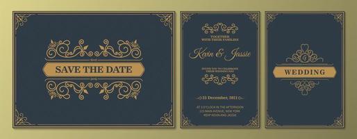 invitation de mariage de luxe antique et enregistrez la date définie vecteur