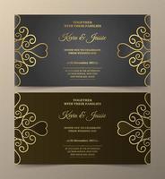 invitation de luxe gris et marron sertie de tourbillons dorés