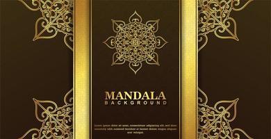 conception de mandala décoratif de luxe marron et or vecteur