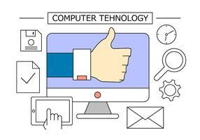 Icônes du bureau de la technologie informatique vecteur