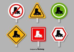 Panneaux de prohibition des patins à roulettes - vecteur