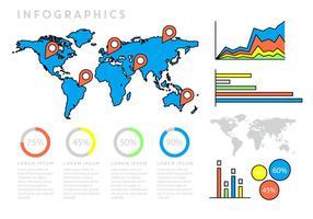 Infographie avec carte du monde vecteur