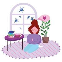 jeune femme agenouillée sur le sol de la chambre avec des livres