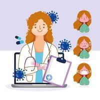 femme médecin et patient se connectant via ordinateur vecteur