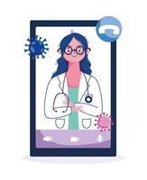 soins en ligne avec une femme médecin sur l'écran du téléphone vecteur