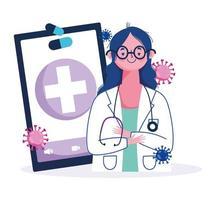 soins en ligne avec une femme médecin via smartphone vecteur