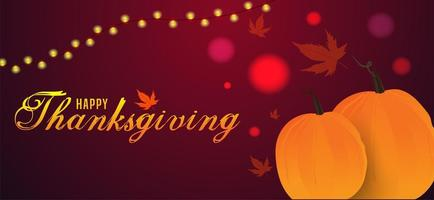 joyeux thanksgiving avec citrouilles et guirlande lumineuse