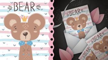 carte de voeux princesse ours vecteur