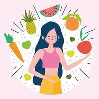 jeune femme avec des fruits et légumes frais et sains vecteur