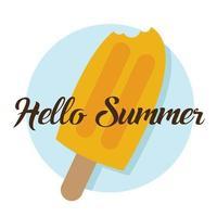bonjour texte d'été et barre de crème glacée