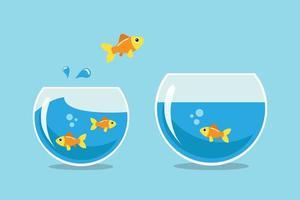 poisson doré sautant d'un bol à l'autre vecteur
