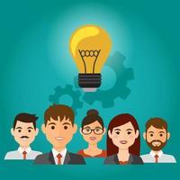 équipe avec ampoule au-dessus des têtes ayant une idée de projet