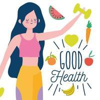 Femme tenant un haltère avec des fruits et légumes à proximité vecteur