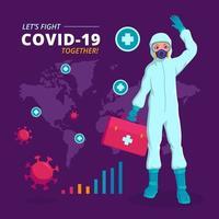 infographie de covid-19 avec un médecin en costume
