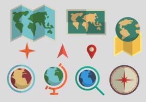 Vecteurs de conception plate des cartes du monde vecteur